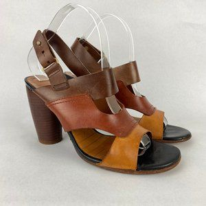Chie Mihara Heeled Sandals Leather Stacked Brown 7
